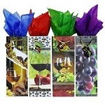 BG-06-1 Rustic Red/White Wine and Grapes Set of 4 Bottle Bags
