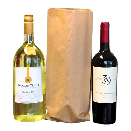 "1.5 Litre Recycled Kraft Bottle Bags 6"" x 2"" x 15"""