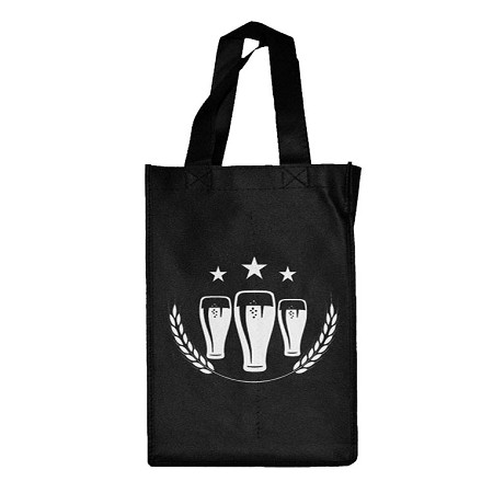 REUSABLE 4 BOTTLE CLOTH BAGS WITH COLLAPSIBLE DIVIDERS-BLACK BEER 100/CASE