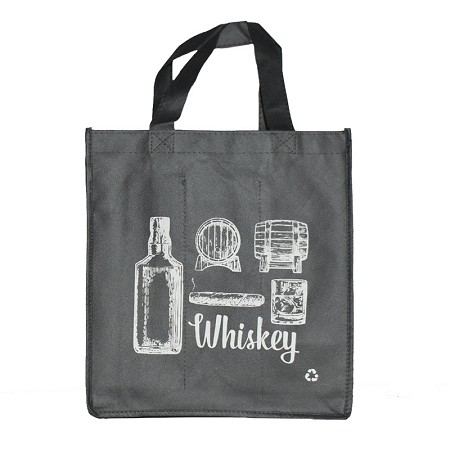 REUSABLE 6  BOTTLE CLOTH BAGS WITH LARGE 1.5/1.15 COLLAPSIBLE DIVIDERS-GREY WHISKEY 100/CASE