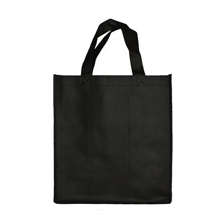 REUSABLE 6 BOTTLE CLOTH BAGS WITH COLLAPSIBLE DIVIDERS-PLAIN BLACK 100/CASE