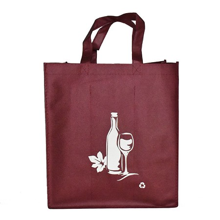 REUSABLE 6  BOTTLE CLOTH BAGS WITH LARGE 1.5/1.4 L  COLLAPSIBLE DIVIDERS-BURGUNDY WINE 100/CASE