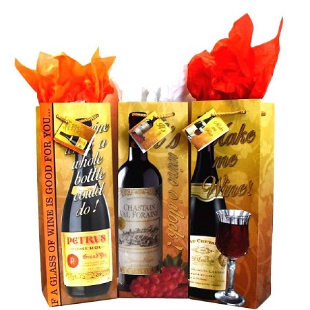 BG-15-1 Matte Wine with Script  Set of 3 Bottle Gift Bags