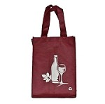 REUSABLE 4 BOTTLE CLOTH BAGS WITH COLLAPSIBLE DIVIDERS-BURGUNDY WINE 100/CASE