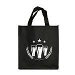 REUSABLE 6 BOTTLE CLOTH BAGS WITH COLLAPSIBLE DIVIDERS-BLACK BEER 100/CASE