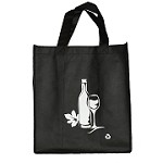 REUSABLE 6 BOTTLE CLOTH BAGS WITH COLLAPSIBLE DIVIDERS-BLACK WINE 100/CASE
