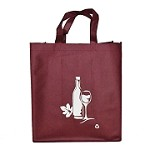 REUSABLE 6 BOTTLE CLOTH BAGS WITH COLLAPSIBLE DIVIDERS-BURGUNDY WINE 100/CASE