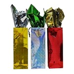 BG-05-1 3 Colours Metallic Foil Single Bottle Gift Bags