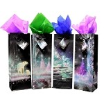 BG-47-1 Winter Night Scene Set of 4 Bottle Bags